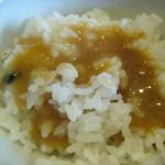 四季のテーブル - 治部煮の煮汁をご飯にかけて