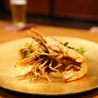 千陽 - 料理写真:車海老と真鯛の鱗揚げ