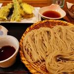 113802008 - ざるそば並と自家栽培の野菜の天ぷら