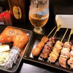 ハマケイ - ◆ドリンクセット 980 プレモルエール+焼鳥盛合せ ◆若鶏のもも焼き 420