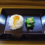 真 お魚と野菜 - 蕪サラダ