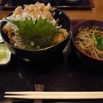蕎勝人 - 野菜天丼セット(温そば)