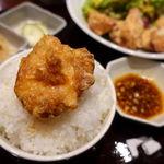 地鶏軍鶏 兼子 - 唐揚げ定食香味葱ソース(ご飯大盛り無料) 980円