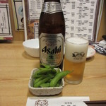 新鮮組 - 料理写真:瓶ビールとお通しの枝豆