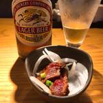 やまや - ◆お通しは桜肉の馬刺し 367 ◆ラガービール 756