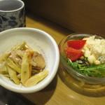 きくち - 松花堂弁当の小鉢・サラダ(ポテトサラダ・トマトなど)
