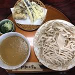 三丁目の手打うどん - 料理写真:・カレーつけ麺 並盛(300g) 900円 ・本日の天ぷら なす 80円 ・本日の天ぷら まいたけ 160円