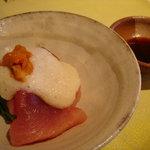 ペッパーミル - 前菜1・ヨコワのやまかけ