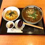 113901116 - 肉カレーうどん ミニ玉子丼セット  ¥950                       ランチタイム ¥50引き