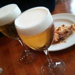 PIZZERIA IMOLA - ランチのグラスビール