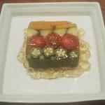 蕎麦 ひら川 - 料理写真:季節野菜のテリーヌ・出汁香るジュレ添え