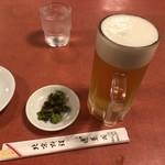 蓬莱閣 - 生ビールとお通し