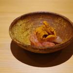 鮨しののめ - 利尻産バフン海胆、アカシマエビ