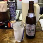 立ち食いそば 熊 - 瓶ビール550円、グラスもキンキン