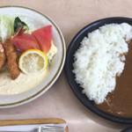カレーの店 路 - エビフライ定食  小ビーフカレー