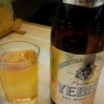魚河岸寿司 - 竹コース5000円には、ドリンク2杯付いてます。瓶ビールはなんとエビス♪日本酒は、菊水か初孫の、冷酒も選べるようになっていました。