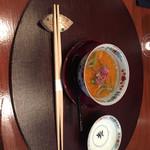 Tahara - 南瓜のすり流しとじゅん菜のソース。これからの料理に期待が高まる。