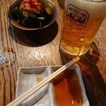 炭焼き 一本屋 - 生ビールはドライ  キムチはお通し!