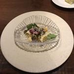 miyashita - アワビと肝ソース トウモロコシとビーツソースとパルミジャーノ