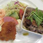 114039713 - 平日限定の日替わりランチ 肉料理は牛肉の冷しゃぶ、魚料理は魚フライ \980