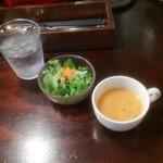 114039893 - トマトソースのハンバーグステーキ ライス、サラダ、スープ付 1,000円(税込)