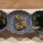 114055150 - きゅうりとゴーヤのおひたし、オクラの胡麻和え、大和マナの煮たやつ