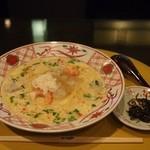 先斗入ル - 湯葉と海老とえび芋の白味噌スープ 生姜風味