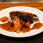 神楽坂 鉄板焼 中むら - ブルーオマールのソテー 黒トリュフ(オーストラリア産) 2種のオマールソースで
