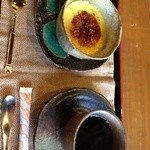 百年邑 - マスターの薦める自家製プリン。。甘さ控えめといわれましたが確かにスイーツっていうより卵料理?みたいなやさしいスイーツでした