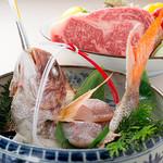 鉄板焼 けやき - 料理写真:お祝いプランの駿河湾直送「活天然鯛」
