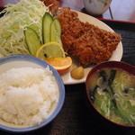 鳥正 - チキンカツ定食(ご飯小)\800-(ご飯小につきここから50円引き)