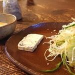 手造り食の店しもだ - ①自家製ゴマ豆腐と、 黒ごまとチーズテリーヌ&サラダ