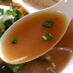 114183585 - 【2019.8.25(日)】みそラーメン(並盛)770円のスープ