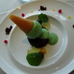 レストランKEI - デザート 三河産ミントとチョコレートのパルフェ 河合果樹園レモンとライムのアロマ