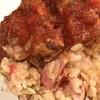 チロル - 料理写真:ごま油味炒めご飯の上に洋風味のチキンソテー