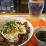 114259363 - 守谷商店より黒毛和牛焼き肉丼 1200円、ランチのライス・スープはお代わり無料になります