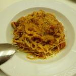 11427801 - 2012.1 ベーコンとキノコのトマトソースで和えたスパゲッティーニ