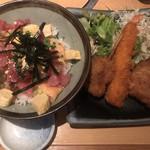 十干 - 海鮮バラちらし&ミックスフライ1000円 ※税込み ちらしは、マグロ、サーモン、穴子が主な具材です。量が少なく残念ですが、味は良かったです(^。^)