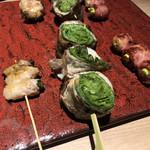 博多焼き鳥・野菜巻き・もつ鍋 かつぎや - ・紫蘇巻き ・レタス巻き ・アスパラベーコン巻き