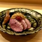 114292474 - 強肴:鴨肉・トマトマスタード・空芯菜・田楽味噌