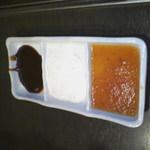 1143737 - 甘口タレ(左)、チーズ(中)、おろし(右)