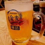 もつ焼き 四番屋 - 「ビール100円(税抜)」をオーダーしたら「金麦」