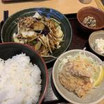 ゆめあん食堂 - ナスとキャベツの味噌炒め&大判唐揚げ定食