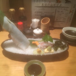 天ぷら海鮮 五福 - 真イカの姿造り¥990。