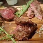 熟成肉バル 神保町style - 本日の牛三種 ミスジ、カイノミ、ランプでした。 ミスジが一番柔らかく、美味しかったです。