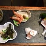 114355264 - アワビ、小海老、玄海のタコ、北海道のタコ、鱧、サヨリ、後は失念(苦笑)