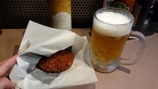 肉の大山 - メンチとビール
