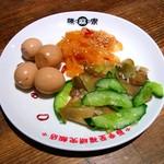11440240 - 前菜三種・鶉の卵・くらげ・ザーサイと胡瓜の和え物