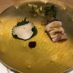 広東料理 割烹 丸福 - 鮑、クラゲ、ピータン、よだれ鶏の冷菜