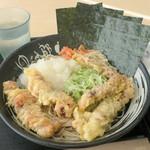 ゆで太郎 - 料理写真:おろしゲソ天そば500円、焼きのり100円